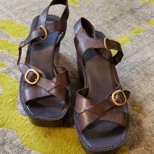 Brown Nine West platform wedge sandals